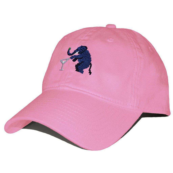 Hats/Visors - Elephant Martini Needlepoint Hat In Pink By Smathers & Branson