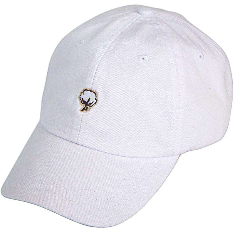 Embroidered Cotton Logo Hat in White by The Southern Shirt Co. - Country Club Prep