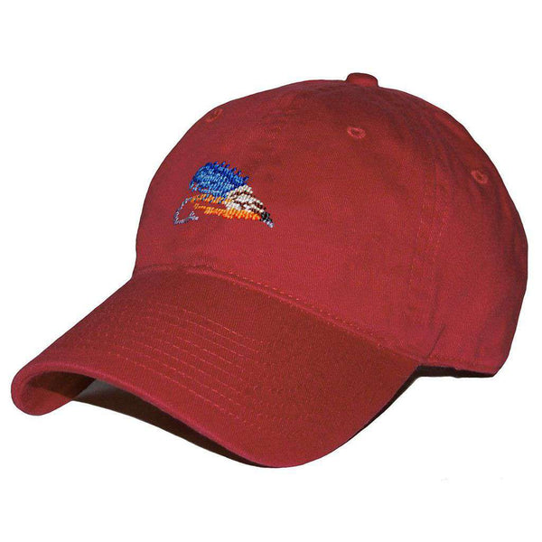 Hats/Visors - Fishing Fly Needlepoint Hat In Rust Red By Smathers & Branson