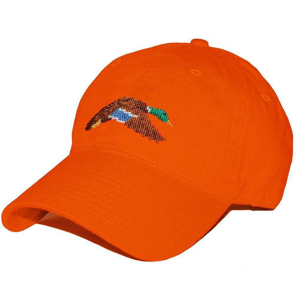 Hats/Visors - Flying Mallard Needlepoint Hat In Orange By Smathers & Branson
