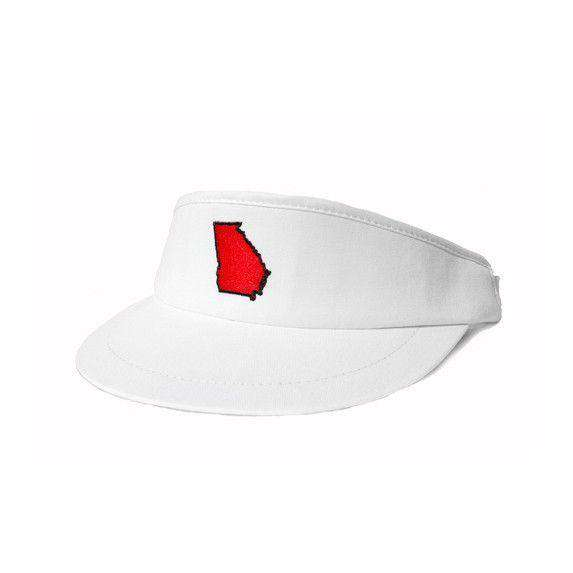 Hats/Visors - GA Athens Gameday Golf Visor In White By State Traditions