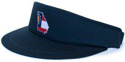 Hats/Visors - GA Traditional Golf Visor In Black By State Traditions