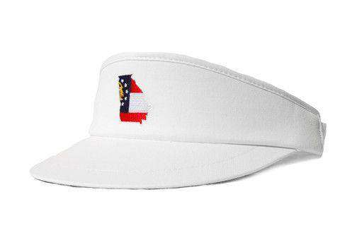 Hats/Visors - GA Traditional Golf Visor In White By State Traditions