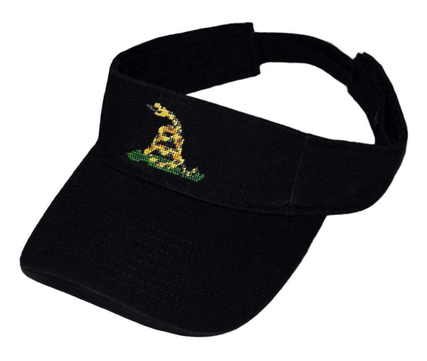 Gadsden Flag Needlepoint Visor in Black by Smathers & Branson