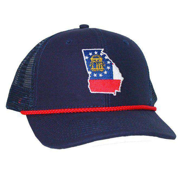 Hats/Visors - Georgia Flag Mesh Back Rope Hat In Navy By Peach State Pride