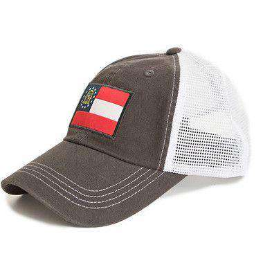Georgia Flag Trucker Hat in Charcoal by State Traditions