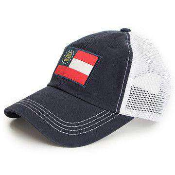 Hats/Visors - Georgia Flag Trucker Hat In Navy By State Traditions