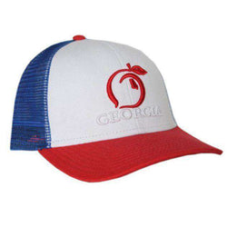 a50ef11f1773bd Peach State Pride Georgia Mesh Back Hat in Red, White, & Blue ...