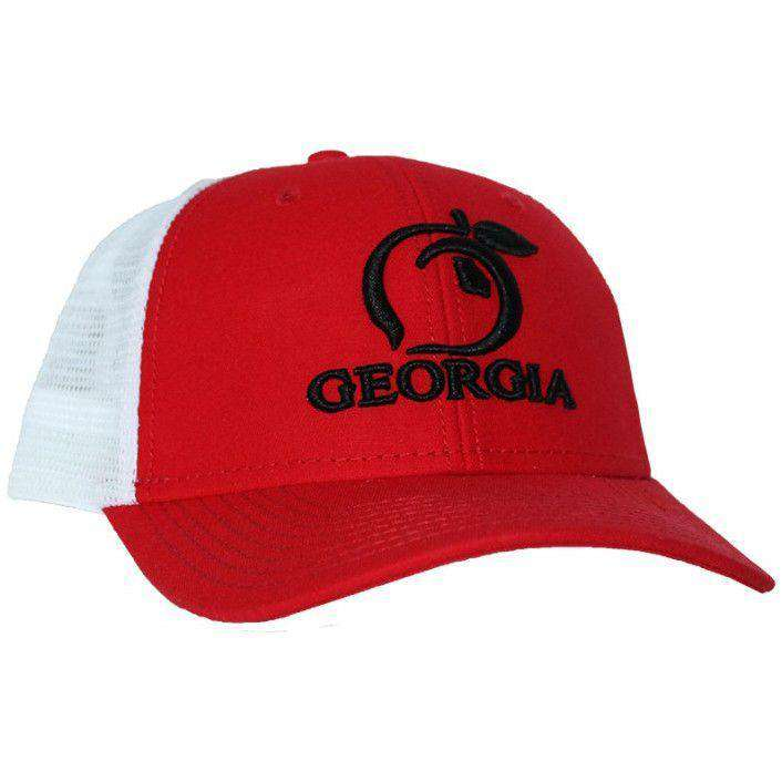 8dd5cfaff22e99 order hats visors georgia mesh back hat in red white by peach state pride  16bd4 40c49