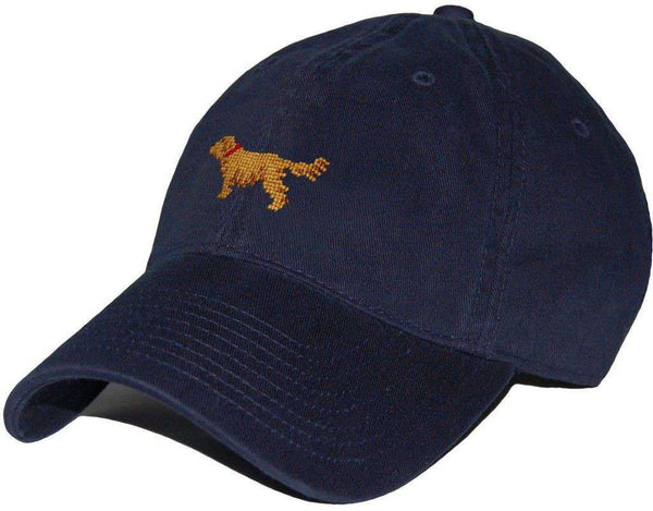 Hats/Visors - Golden Retriever Needlepoint Hat In Navy By Smathers & Branson