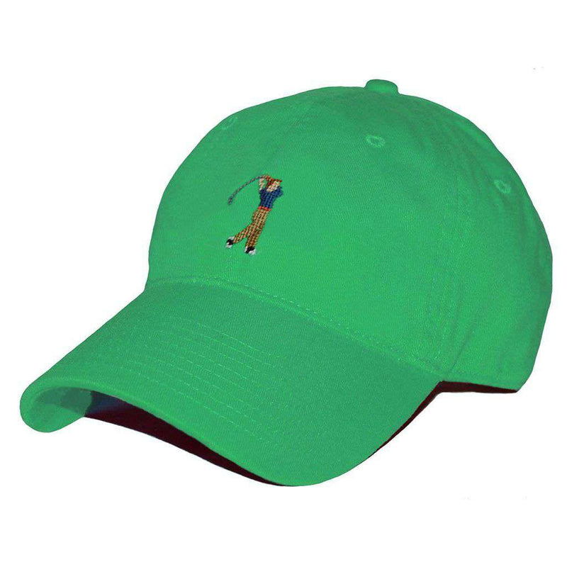 Hats/Visors - Golfer Needlepoint Hat In Kelly Green By Smathers & Branson