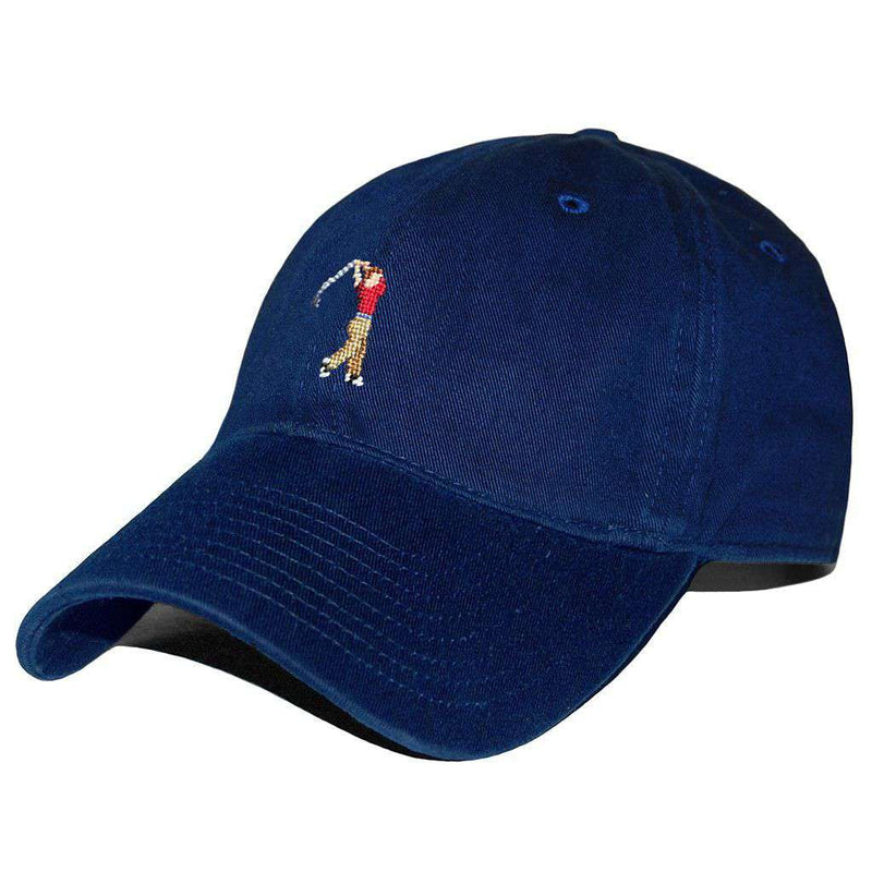 Hats/Visors - Golfer Needlepoint Hat In Navy By Smathers & Branson
