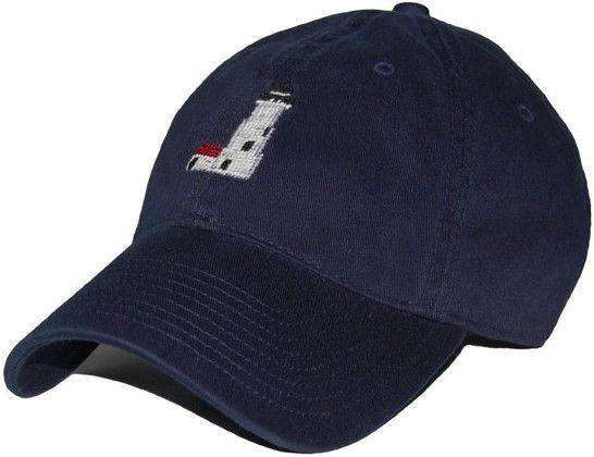 Hats/Visors - Great Point Lighthouse Needlepoint Hat In Navy By Smathers & Branson