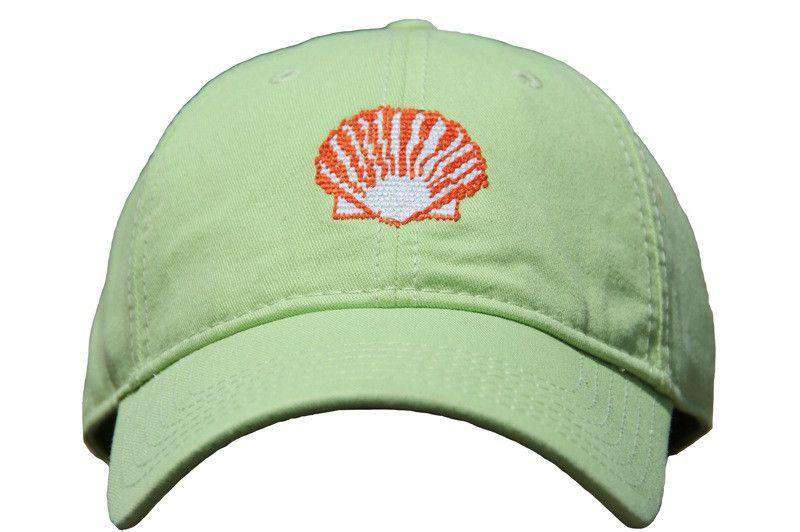 Hats/Visors - Green Hat With Needlepoint Scallop Shell By Harding Lane