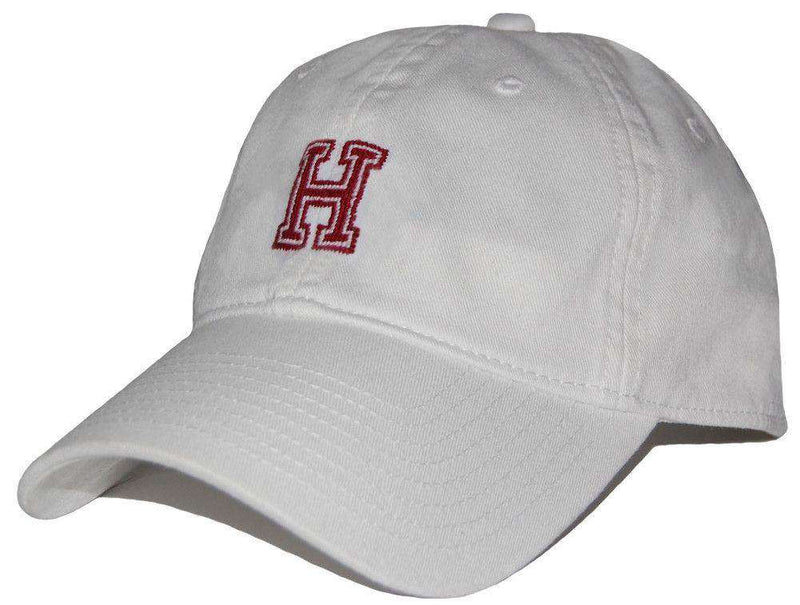 Hats/Visors - Harvard Needlepoint Hat In White By Smathers & Branson