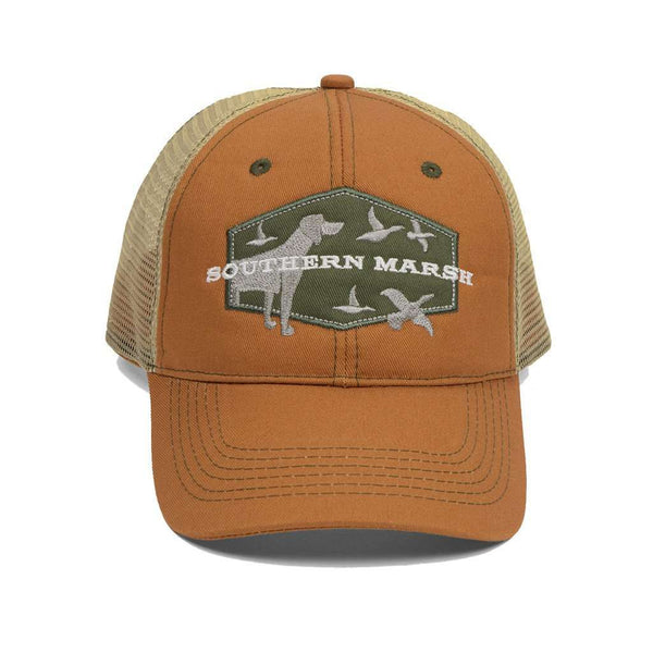 Hunting Dog Trucker Hat in Burnt Orange by Southern Marsh