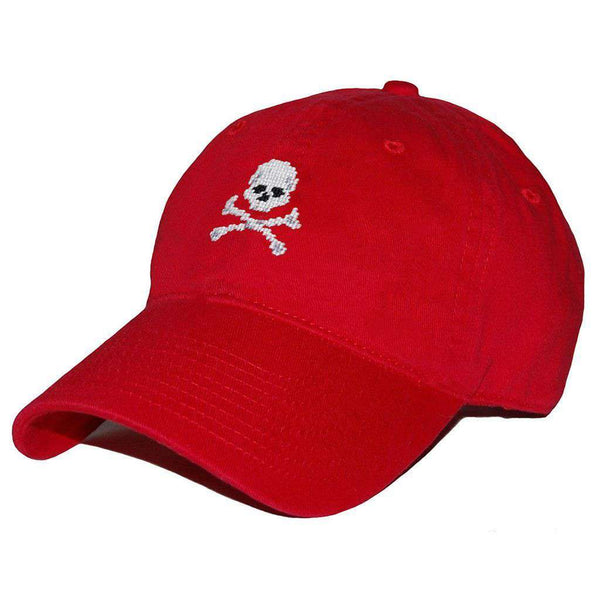 Jolly Roger Needlepoint Hat in Red by Smathers & Branson
