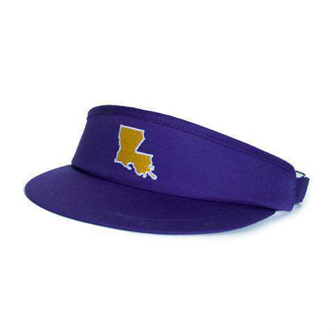 Hats/Visors - LA Baton Rouge Gameday Golf Visor In Purple By State Traditions