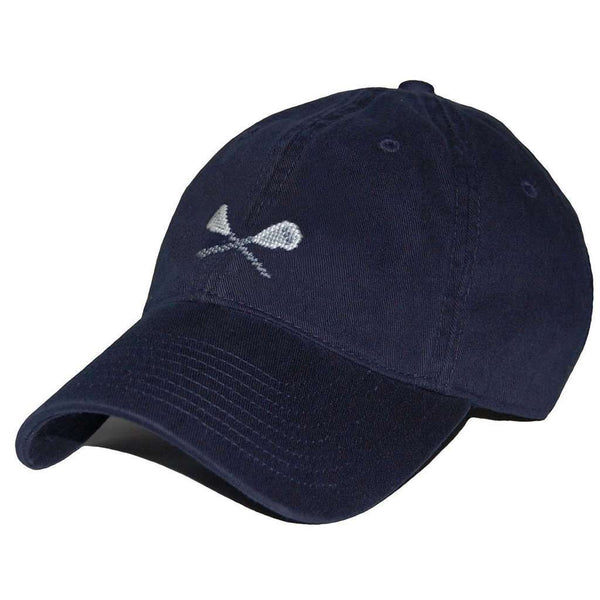 Hats/Visors - Lacrosse Sticks Needlepoint Hat In Navy By Smathers & Branson