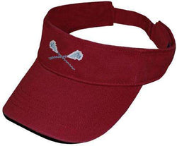 Hats/Visors - Lacrosse Sticks Needlepoint Visor In Rust Red By Smathers & Branson
