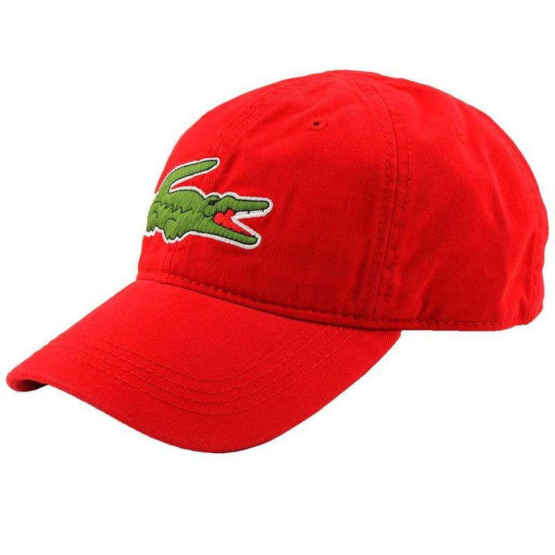 Hats/Visors - Large Croc Gabardine Cap In Red By Lacoste