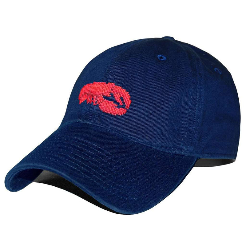 Hats/Visors - Lobster Needlepoint Hat In Navy By Smathers & Branson