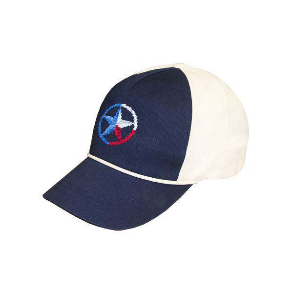 Lone Star Needlepoint Rope Snapback Hat in Navy and White by Smathers & Branson