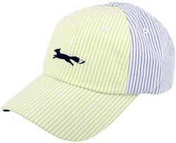 Hats/Visors - Longshanks Seersucker Trucker Hat In Lime And Light Blue By Country Club Prep - FINAL SALE