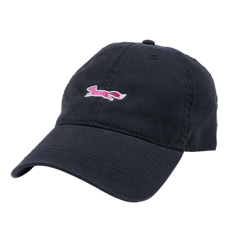 Hats/Visors - Longshanks Solid Pink Logo Hat In Navy Twill By Country Club Prep - FINAL SALE