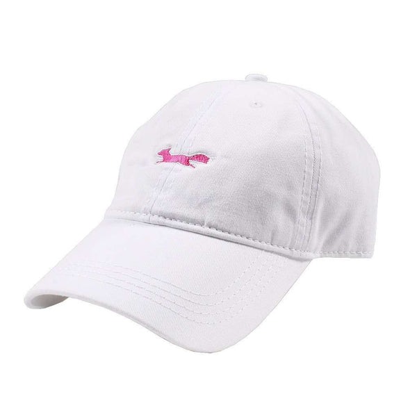 Hats/Visors - Longshanks Solid Pink Logo Hat In White Twill By Country Club Prep