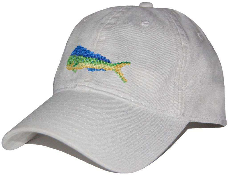 Hats/Visors - Mahi Needlepoint Hat In White By Smathers & Branson