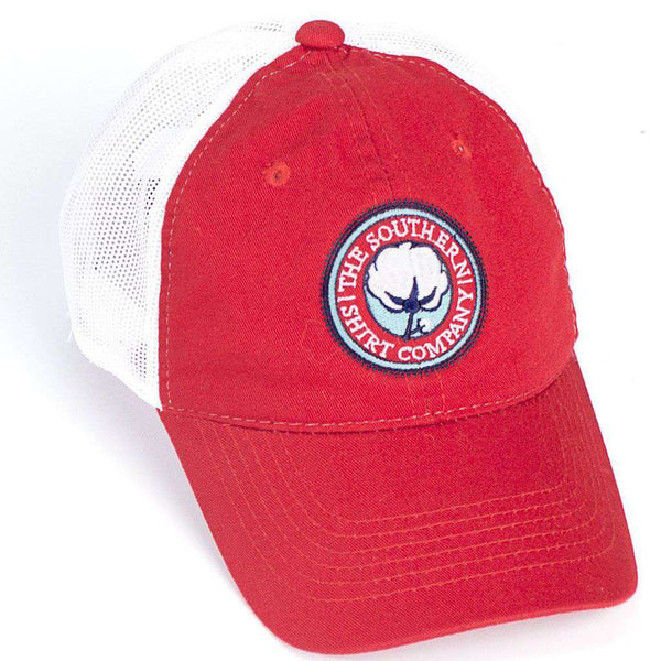 Mesh Back Logo Hat in Red by The Southern Shirt Co. - Country Club Prep