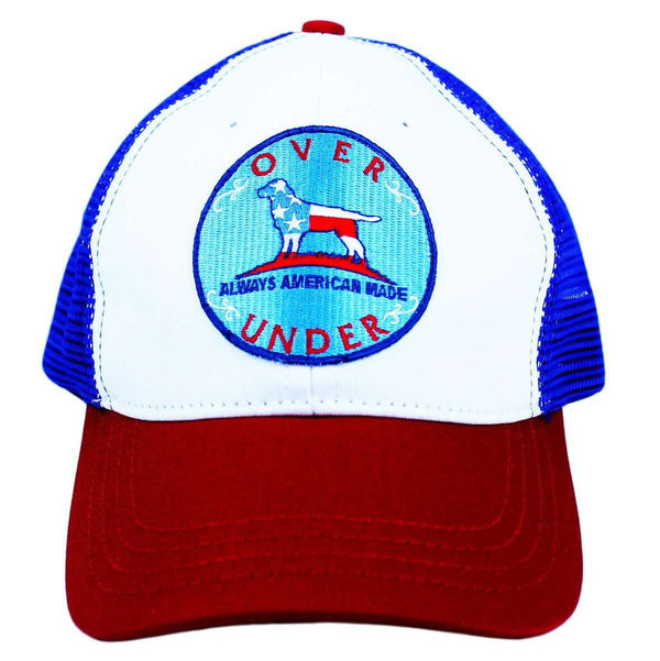 Hats/Visors - Mesh Back Patriotic Dog Hat In Red, White, & Blue By Over Under Clothing