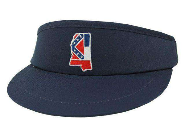 Hats/Visors - MS Traditional Golf Visor In Navy By State Traditions