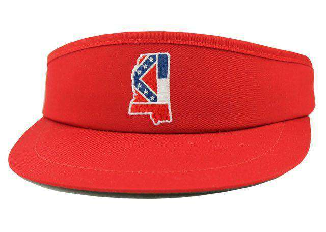 Hats/Visors - MS Traditional Golf Visor In Red By State Traditions
