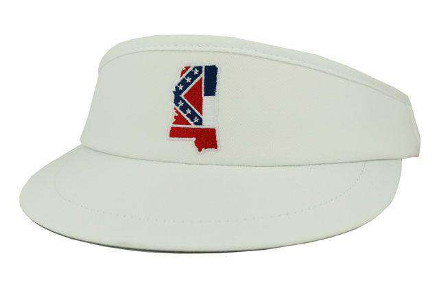 Hats/Visors - MS Traditional Golf Visor In White By State Traditions