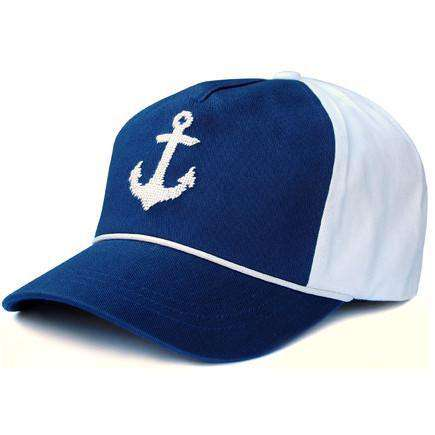 Hats/Visors - Needlepoint Anchor Rope Snapback Hat In Navy And White By Smathers & Branson