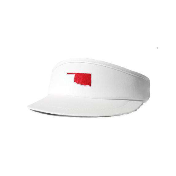 Hats/Visors - OK Norman Gameday Golf Visor In White By State Traditions