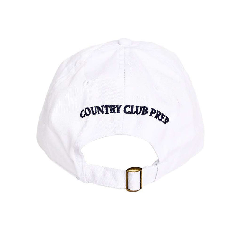 Patriotic Longshanks Logo Hat in White Twill by Country Club Prep
