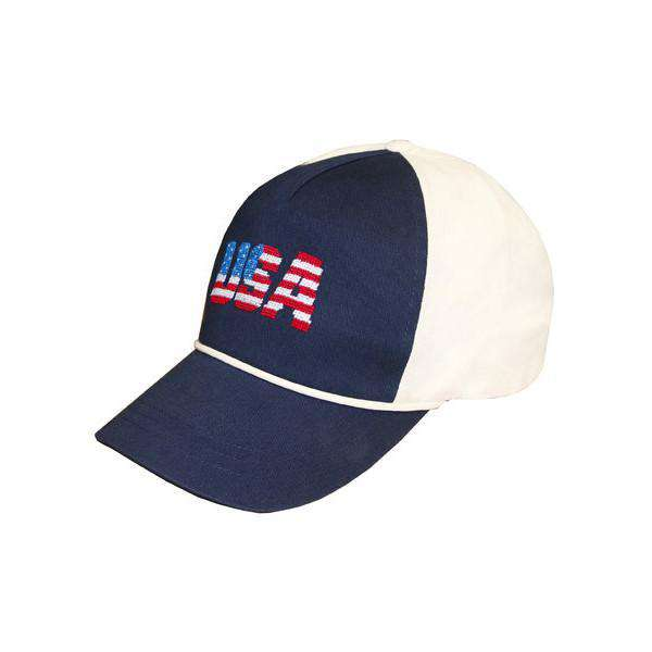 Hats/Visors - Patriotic USA Needlepoint Rope Snapback Hat In Navy And White By Smathers & Branson