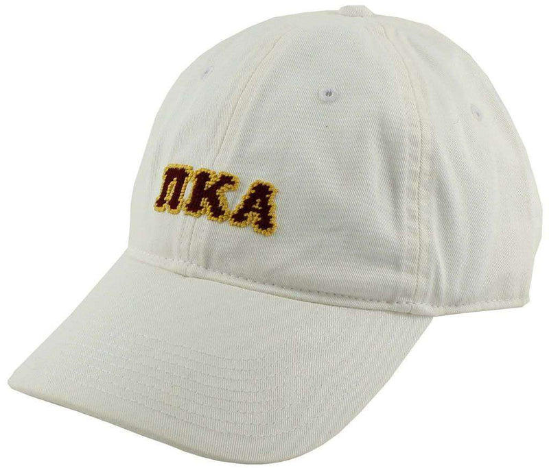 Hats/Visors - Pi Kappa Alpha Needlepoint Hat In White By Smathers & Branson