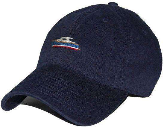 Hats/Visors - Picnic Boat Needlepoint Hat In Navy By Smathers & Branson