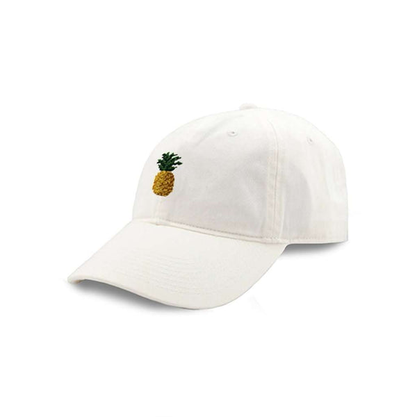 Pineapple Needlepoint Hat in White by Smathers & Branson