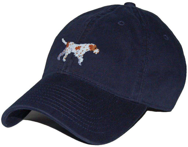 Hats/Visors - Pointer Needlepoint Hat In Navy By Smathers & Branson