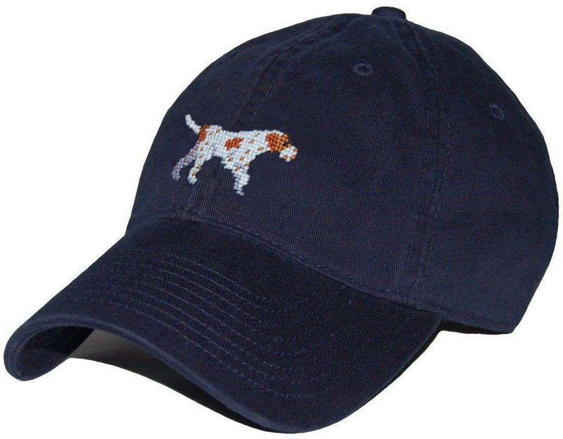 Pointer Needlepoint Hat in Navy by Smathers & Branson