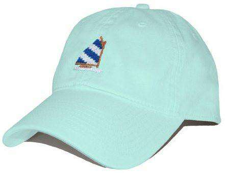 Rainbow Fleet Needlepoint Hat in Glacier Blue by Smathers & Branson