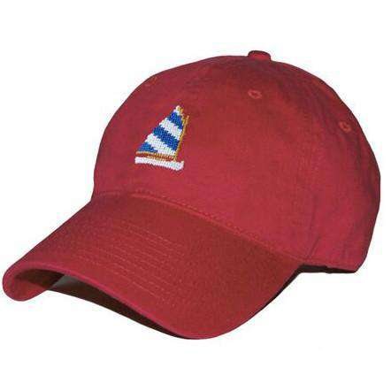 Hats/Visors - Rainbow Fleet Needlepoint Hat In Rust Red By Smathers & Branson