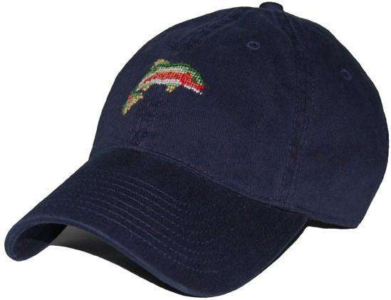 Hats/Visors - Rainbow Trout Needlepoint Hat In Navy By Smathers & Branson