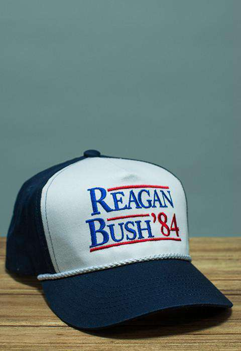 Hats/Visors - Reagan Bush '84 Rope Hat In Navy And White By Rowdy Gentleman