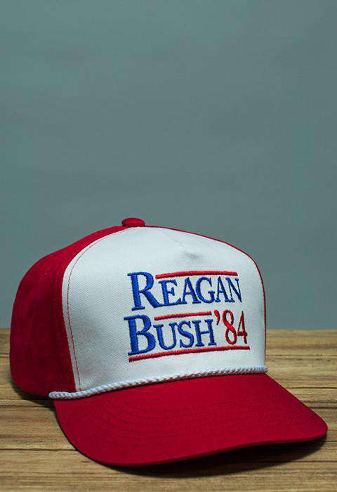Hats/Visors - Reagan Bush '84 Rope Hat In Red And White By Rowdy Gentleman